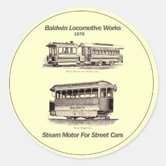 Baldwin Steam Motor For Street Cars 1876 Round Sticker