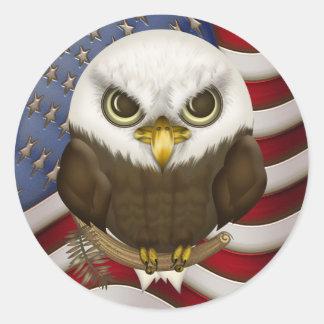 Baldwin The Cute Bald Eagle Classic Round Sticker