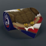 """Baldwin The Cute Bald Eagle Neck Tie<br><div class=""""desc"""">This fun original digitally illustrated cartoon character design features the cutest bald eagle in the world perched proudly in front of his American flag. Whether you&#39;re an American veteran or just want to show your American pride, here&#39;s a new take on this US national symbol to show your patriotic side!...</div>"""