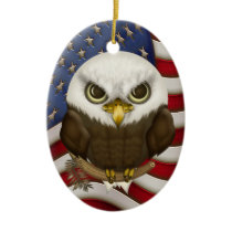Baldwin The Cute Bald Eagle Personalized Ceramic Ornament