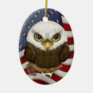 Baldwin The Cute Bald Eagle Personalized Ceramic Ornament