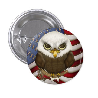 Baldwin The Cute Bald Eagle Pinback Button