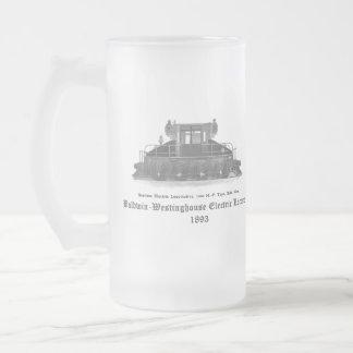 Baldwin Westinghouse Electric locomotive 1893 Frosted Glass Beer Mug