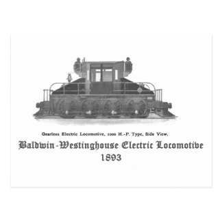 Baldwin Westinghouse Electric locomotive 1893 Postcard