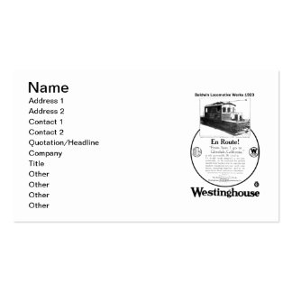Baldwin-Westinghouse Locomotive 1923 Business Card Standard Business Cards