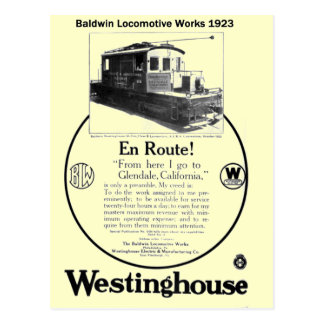Baldwin-Westinghouse Locomotive 1923 Postcard