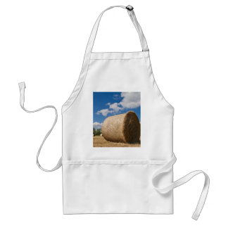 Bale of straw with clouds and blue sky adult apron