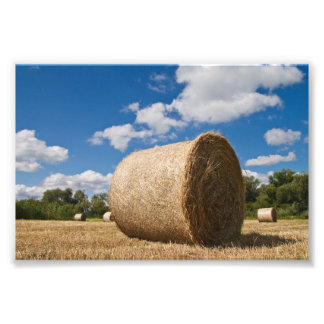 Bale of straw with clouds and blue sky art photo