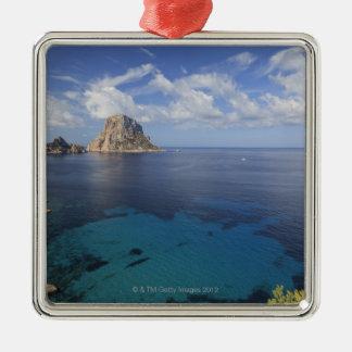 Balearic Island, Ibiza, España Adorno Cuadrado Plateado