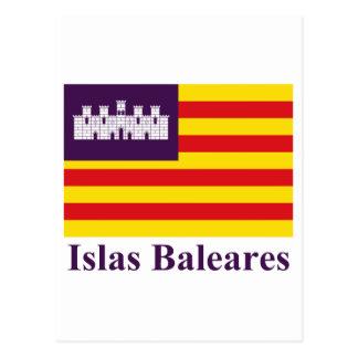 Balearic Island señalan por medio de una bandera c Postales