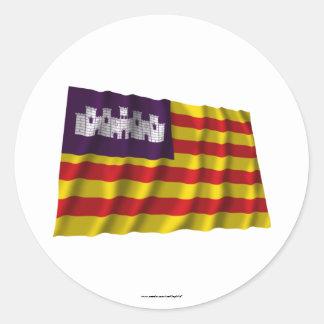 Balearic Islands waving flag Classic Round Sticker