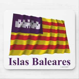 Balearic Islands waving flag with name Mouse Pad