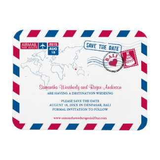 BALI Air Mail Wedding Save the Date 3x4 Magnet