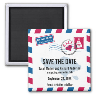 Bali Air Mail Wedding Save the Date Magnet