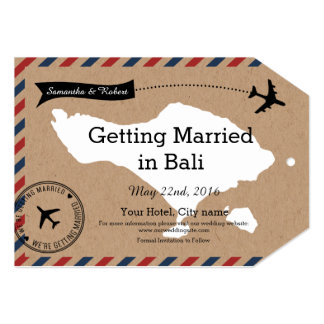 Bali Airmail Kraft Luggage Tag Save The Dates 5x7 Paper Invitation Card