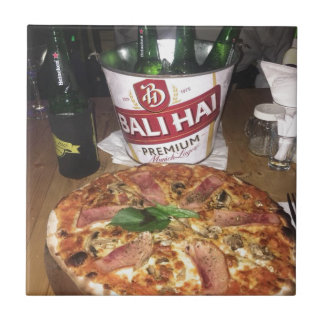 Bali beer and Pizza Ceramic Tile