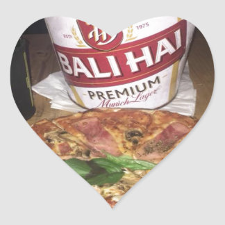 Bali beer and Pizza Heart Sticker