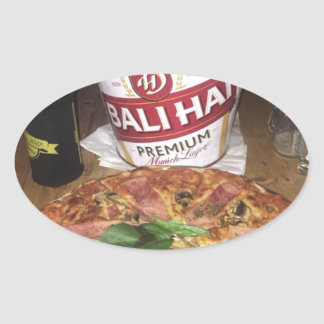 Bali beer and Pizza Oval Sticker