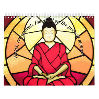 Bali buddha stain glass window calendar