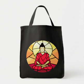 Bali buddha stain glass window tote bag