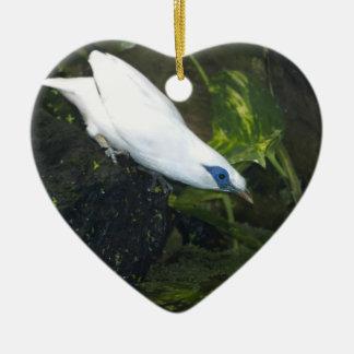 Bali Myna Double-Sided Heart Ceramic Christmas Ornament