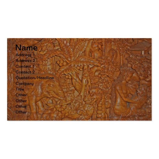Bali Wood Carving One-of-a-Kind Art Business Cards