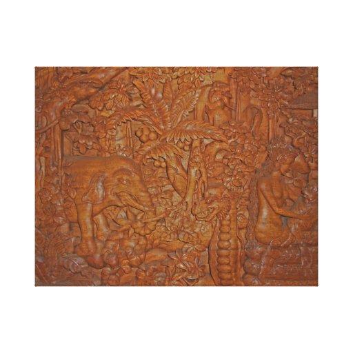 Bali Wood Carving Unique Art Canvas Print