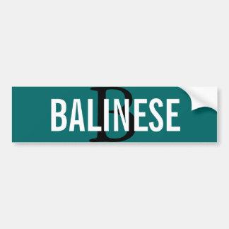 Balinese Breed Monogram Car Bumper Sticker