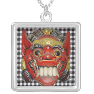 Balinese Ceremonial Mask 1 Silver Plated Necklace