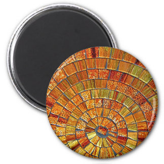 Balinese Glass Tile Art- Brown 2 Inch Round Magnet