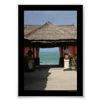 Balinese Hut and Ocean Poster