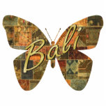 """Balinese Patchwork Butterfly Magnet<br><div class=""""desc"""">Photo sculpture magnet of a brown, green, and orange Balinese patchwork butterfly with """"Bali"""" printed across it in gold script. Stick this magnet on your refrigerator for a small Bali Retreat party prop or give as a party favor. See the entire Bali Retreat Magnet collection in the SPECIAL TOUCHES 
