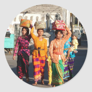 Balinese Women Round Stickers