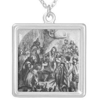 Baliol  Doing Homage for the Crown of Scotland Square Pendant Necklace