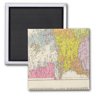 Balkan Peninsula  and Constantinople Map 2 Inch Square Magnet