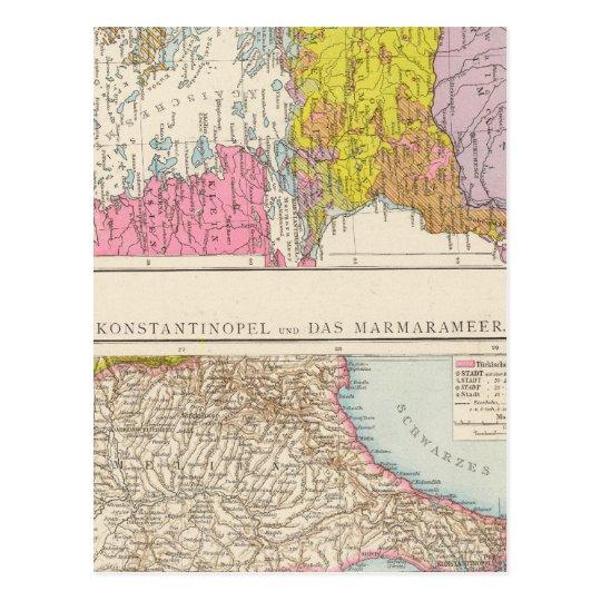 Balkan Peninsula  and Constantinople Map Postcard