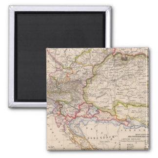 Balkan Peninsula, Austria, Hungary 2 Inch Square Magnet