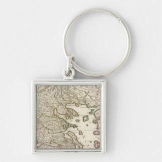 Balkan Peninsula, Greece, Macedonia Silver-Colored Square Keychain