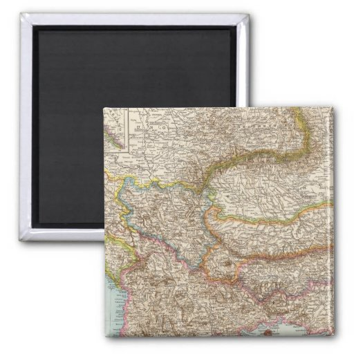 Balkanhalbinsel - mapa de la península balcánica imán cuadrado
