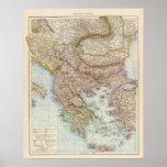 Balkanhalbinsel - mapa de la península balcánica póster