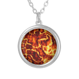 ball-373718 HOT RED FIRE PLANET  ball fire electri Round Pendant Necklace