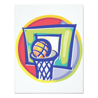 Ball and Backboard 4.25x5.5 Paper Invitation Card