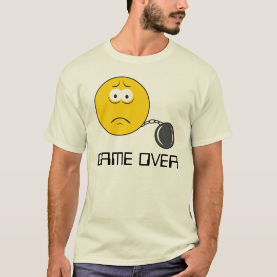 Ball and Chain Smiley Face GAME OVER T-Shirt