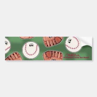 Ball and Glove Collage Field Background Bumper Sticker