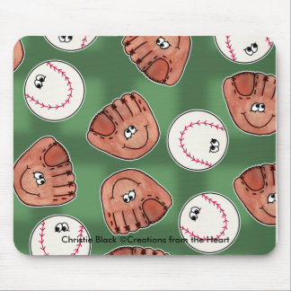 Ball and Glove Collage Field Background Mouse Pad