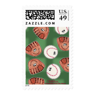 Ball and Glove Collage Field Background Postage Stamp