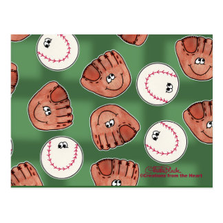 Ball and Glove Collage Field Background Postcard