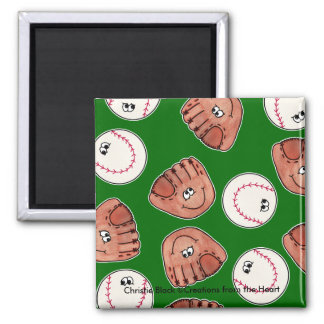 Ball and Glove collage Magnets