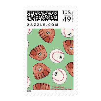 Ball and Glove collage Stamps