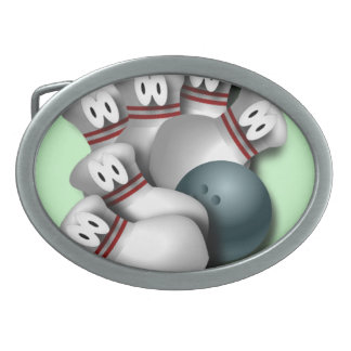 Ball and Pins Oval Belt Buckle
